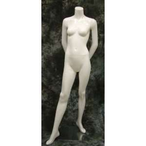 Female FiberGlass HeadLess Gloss White Mannequin C8