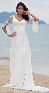 White Lace Long Sleeve A Ling Beach Vintage Wedding Dress Bridal Gowns