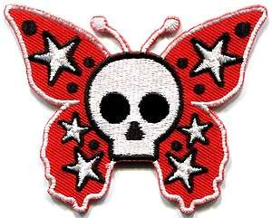 Butterfly skull horror goth emo punk biker applique iron on patch new