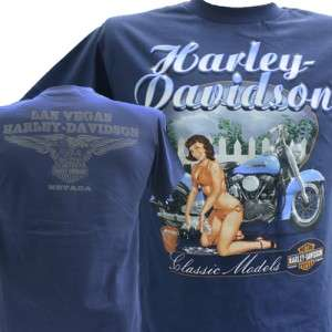 Davidson Las Vegas Dealer Tee T Shirt Pinup Girl BLUE MEDIUM #BRAVA1