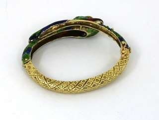 INTRICATE VINTAGE 14K GOLD ENAMEL SNAKE BANGLE BRACELET