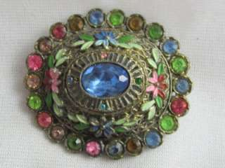 LITTLE NEMO ART DECO PASTEL RHINESTONES & ENAMELED FLOWER PIN