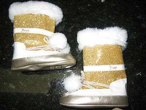 NEW JUICY COUTURE GIRLS INFANT SIZE 4 GOLD WHITE FAUX FUR BOOTS CUTE