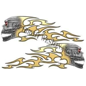 Gold Motorcycle Gas Tank Tribal Skull Flames Automotive