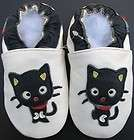 soft sole leather baby shoe black cat white 12 18m S