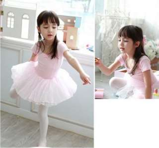 Pink Girl Party Leotard Ballet Tutu Costume Dance Skirt Short Sleeve