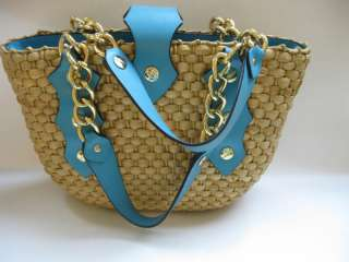 MICHAEL KORS SANTORINI STRAW AQUA LEATHER MEDIUM TOTE