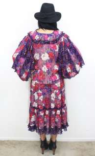 DIANE FRES Silk Sheer FLORAL Georgette GYPSY BOHO Draped Maxi Dress S
