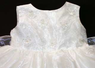 Baby Girls White Party Christening Dress 9 12 Months