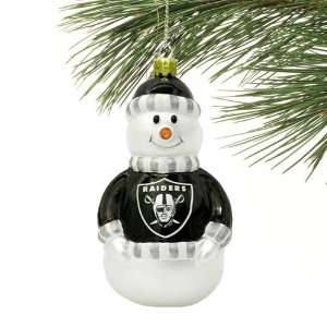 NFL Oakland Raiders Blown Glass Snowman Ornament Sports