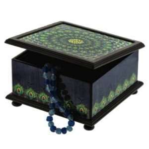 Peacock Design Hand Painted Reverse Glass and Wood Jewelry Box