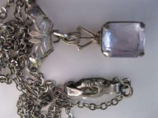 Art Deco/Antique/Vtg Sterling Silver Filigree Necklace Faceted