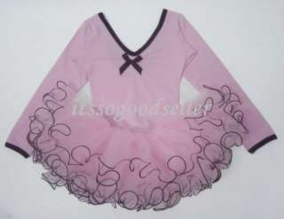 Girl Party Long Sleeve & Sleeveless Leotard Pink Ballet Dance Tutu