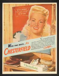 1944 Betty Grable Pin Up Girl Chesterfield Vtg Print Ad