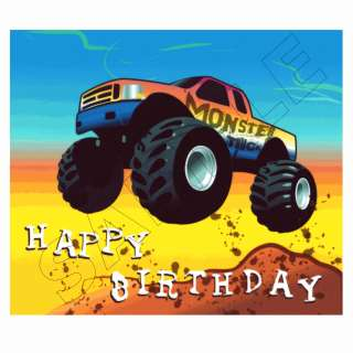 Monster Truck Happy Birthday Edible Image®Cake Decoration