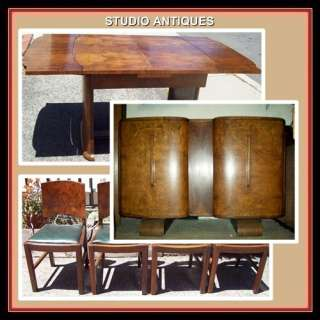 ENGLISH DINING SET Vintage Art Deco TABLE BUFFET Sideboard DRY BAR 4