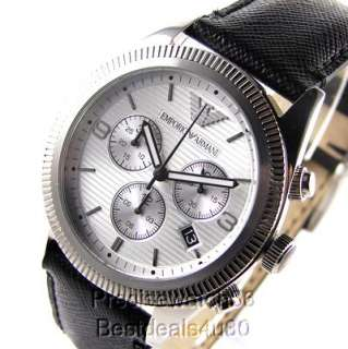 NEW EMPORIO ARMANI MENS WATCH BLACK LEATHER CHRONOGRAPH     GIORGIO