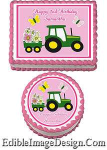 PINK TRACTOR TRUCK Birthday Edible Party Cake Image Cupcake Topper