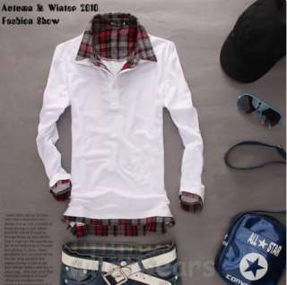 Fashion Mens Casual Plaid Shirt Collar T shirt Sweatshirt Black Z1229