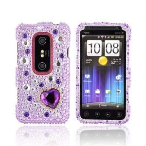 Hearts on Light Purple Silver Gems Bling Hard Plastic Case For HTC EVO
