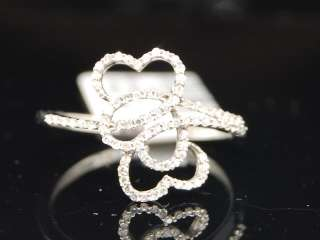 LADIES WHITE GOLD DIAMOND 3 HEART LOVE RIGHT HAND RING