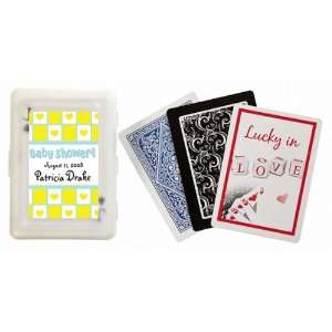 Wedding Favors Yellow Heart Theme Gift Wrap Personalized Playing Card