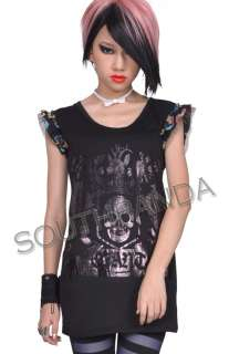SC186 Black Skull Lace Gothic T Shirt Top Punk Gothic