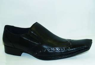 Italian Style Mens Black Leather Dress Shoes Sz 9.5 10