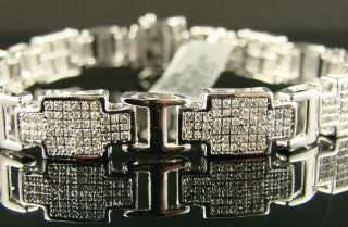 NEW MENS WHITE GOLD FINISH 11MM DIAMOND BRACELET 3.0 CT
