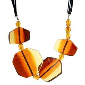 Amber Murano Glass Necklace with Black Leather Strands, 19.5 Jewelry