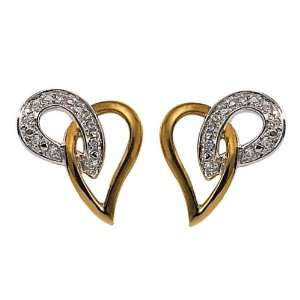 18ct Two Tone Gold Diamond Earrings Jewelry