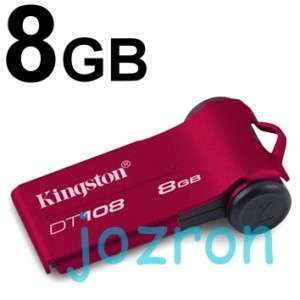 Kingston DT108 8GB 8G USB Flash Pen Drive Flip Disk Red