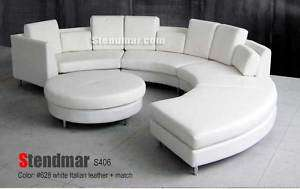 5PC NEW MODERN ROUND SECTIONAL WHITE LEATHER SOFA S406W