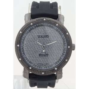 XL Men Watches Diamond Style Look Black Metal Case Black Rubber Band