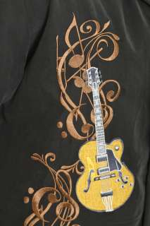 Rock House Musical Notes Guitar Black Button Front Shirt