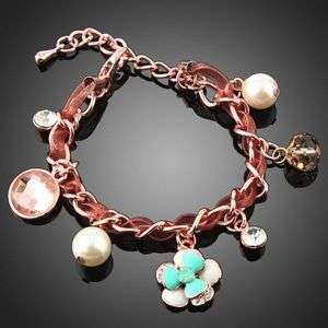 ROSE GOLD GP Pearl Blue Flower Topaz Swarovski Crystal Chain Bracelet