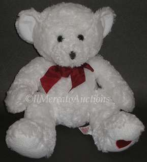 RUSS LOVEY 20879 Plush White TEDDY BEAR 15 Stuffed Toy Red Heart