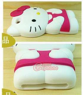 Pink White 3D Cute Lovely Soft Silicone Hello Kitty Case Cover Fr