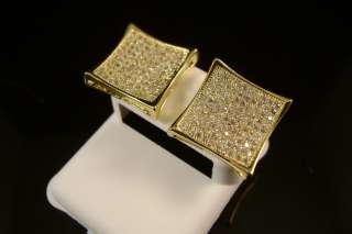 GOLD FINISH DIAMOND SIMULATE XXL KITE SQUARE STUD EARRINGS 15MM