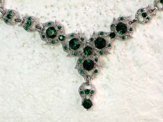 EMERALD COLOR GREEN RHINESTONE CRYSTAL NECKLACE & EARRINGS SET H29