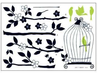 Birdcage & Tree Adhesive Removable Wall Home Decor Accents Stickers