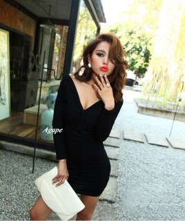 D2009 New Stylish Sexy V Neck Slim Waist Long Sleeve Dress