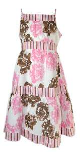 BONNIE JEAN WHITE BROWN PINK ROSE DRESS SIZES 7 16