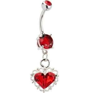 Ruby Red Gem Scalloped Heart Dangle Belly Ring