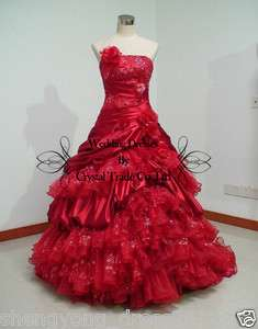 New Red Wedding dress Ball gown prom Quinceanera dresses US size4 6 8