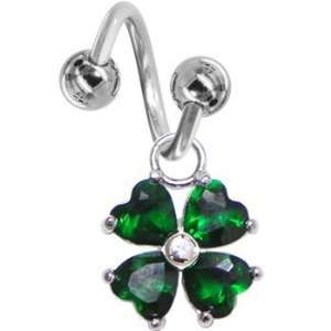 Emerald Green Gem Heart Shamrock Spiral Twister Belly Ring Jewelry
