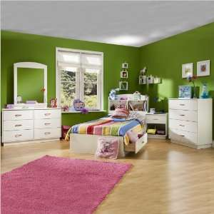 Logik Kids Pure White Twin Wood Mates Storage Bed 4 Piece Bedroom Set