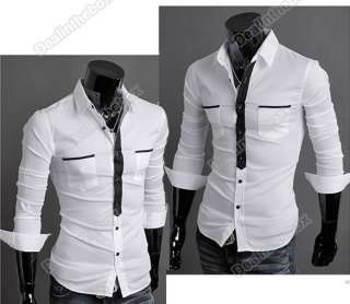 Mens False Tie Slim Stylish Long Sleeve Casual Business Shirts Luxury
