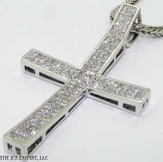 WHITE GOLD FINISH SIMULATED DIAMOND CROSS+CHAIN N074