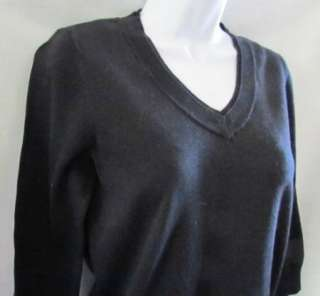 ANNE KLEIN SPORT New Black V Neck Long Sleeve Pullover Sweater Womens